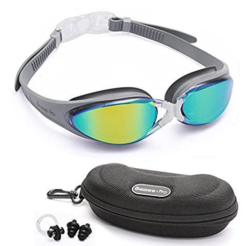 Adult Swim goggles by Bezzee-Pro - 100% UV Protected Anti-Fog Coated Color Mirrored Lens with Silicone eye Cups, Leak Proof, Best Pool Glass for Swimming, With Quality Goggle Case, Nose Clip & Ear Plugs