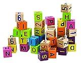 Unbekannt 40 TLG. Set: Holz - Bausteine mit Zahlen & Buchstaben - Steine - Bauklötze Holzbausteine - Lernen / Bauen - stabil