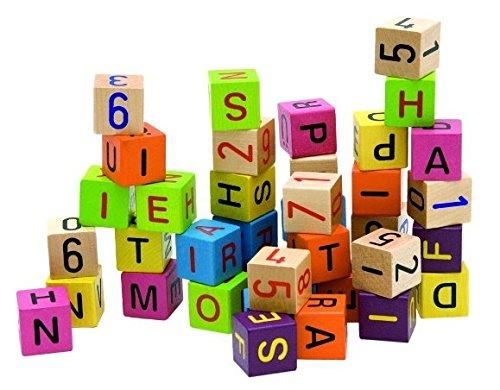 40 tlg. Set: Holz - Bausteine mit Zahlen & Buchstaben - Steine - Bauklötze Holzbausteine - lernen / bauen - stabil (Holz-bausteine-set)