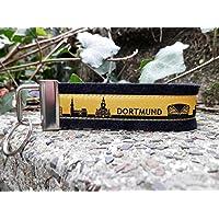 Schlüsselanhänger Schlüsselband Wollfilz schwarz Dortmund Skyline gelb schwarz!