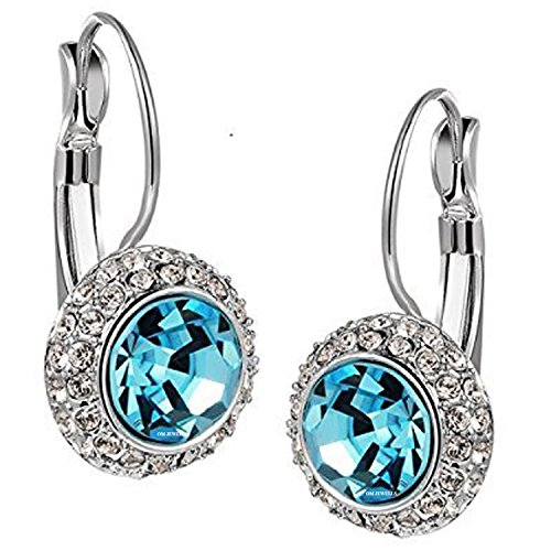 Diwali Gift - Om Jewells Rhodium Plated Aqua Blue Solitaire Crystal Hoop Earrings for Girls and Women ER1000056