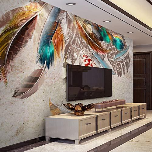 Uhu 3d wallpaper moda colorate piume 3d murale carta da parati moderna arte astratta soggiorno sala da pranzo parete sfondo creativo decorazione della casa, 430 * 300 cm