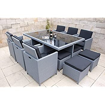 vidaxl poly rattan gartenm bel essgruppe gartenset braun tisch 6 st hle 4 hocker. Black Bedroom Furniture Sets. Home Design Ideas