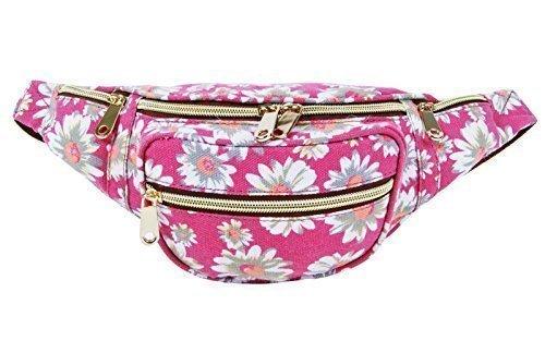 Erhöhte Für Divas Neu Damen Urlaub Leinen Denim Aztek Blumen Blumen Gepunktet Hintern Packung Reise Bum Taschen Grunge - Denim schwarz Pink gänseblümchen blumen