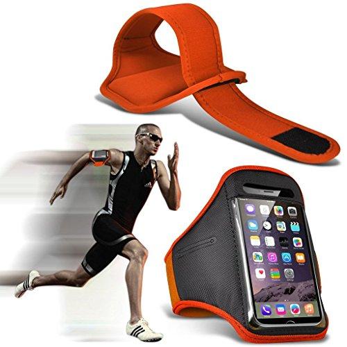 I-Sonite (Orange) Justierbarer Sweatproof/Wasser-beständiger Sport-Eignungs-Laufender Turnhallen-Armband-Telefon-Fall für ASUS ZenFone 3 Deluxe ZS550KL [ XXL ] Deluxe Armband Fall