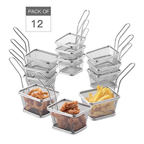 Velaze Set da 12 Cestelli per Friggitrice in Acciaio Inox, Mini Chips Cestini per Friggere Alimenti Filtro per Patatine Fritte Crisps Zeppe Anelli di Cipolla da Cucina, Argento (10,5 x 8,5 x 6,5 cm)