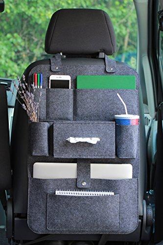 Rücksitzorganizer Autositz Filz Organizer mit Multitasche 62x41cm LuckySign(Dunkelgrau)