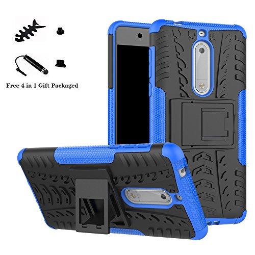 LiuShan Nokia 5 Hülle, Dual Layer Hybrid Handyhülle Drop Resistance Handys Schutz Hülle mit Ständer für Nokia 5 Smartphone (mit 4in1 Geschenk verpackt),Blau