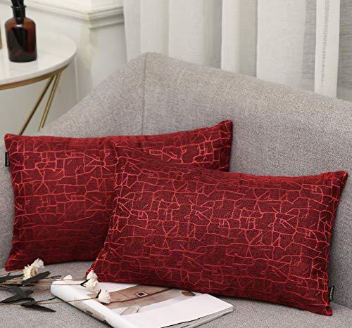 Vioaplem Kissenhüllen Stickerei Streifen Polyester Baumwolle Leinen Wurf Kissenbezug zum Couch Sofa Schlafzimmer Zuhause 30 x 50cm Rot 2 stück -