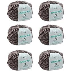 MyOma W0MY-04-A-3995-06 Taupe (Fb 3995) - Hilo de lana merino suave, grosor de aguja de 6-7 mm, color marrón