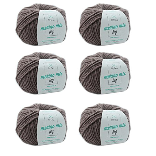 Merinowolle zum Stricken * Merinogarn taupe (Fb 3995) * 6 Knäuel Merino Wolle in taupe – braune Merinowolle – Lauflänge 50g/75m – Wolle zum Stricken – Nadelstärke 6-7mm – Merino Mix big von MyOma