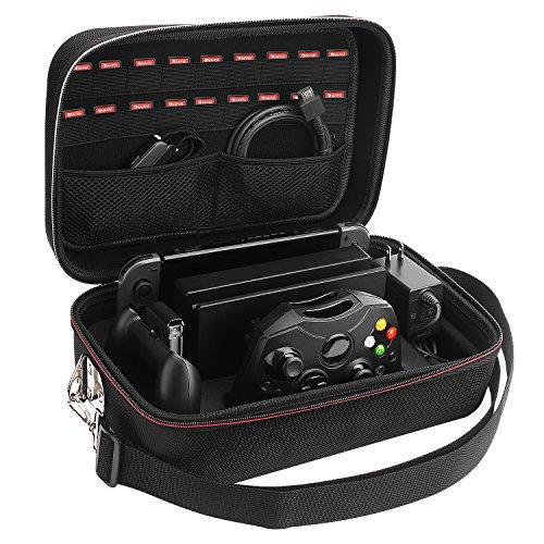 Etui pour Nintendo Switch, Lifeasy Housse de Transport à Coque Rigide pour Console Switch Dock, Anti-choc, Daptateur Secteur, Câble HDMI, Manette Pro et 18 Cartouches de Jeu