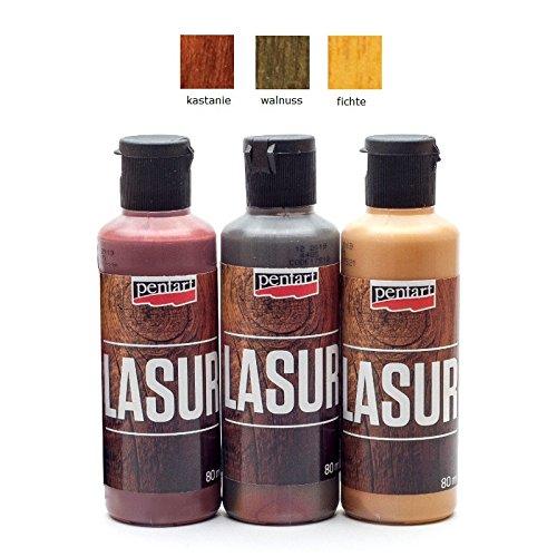 Holzlasur für Innen- und Außenbereich 3x80ml - Set 5. Lasurfarbe, Bastelfarbe