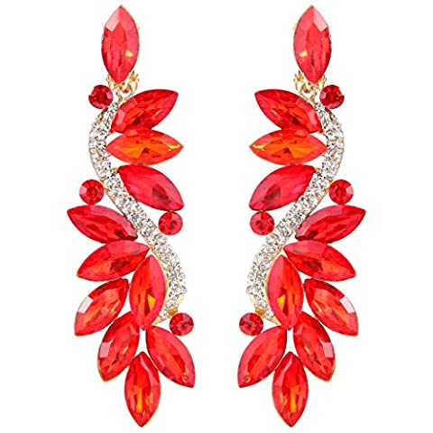 Clearine Women's Fashion Wedding Bridal Crystal Flower Romantic Dangle Clip-On Earrings Gold-Tone Ruby