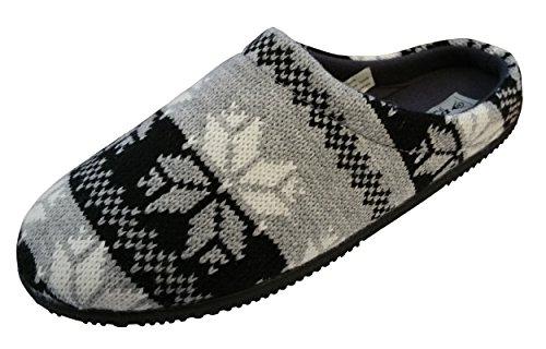 Dunlop Chaussons Meilleure Collection Design Fairisle Homme Gris/Noir