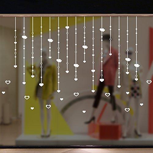 Y-Hui Raupe Vorhang Vorhang Anhänger Sterne Schlafzimmer Fenster Shop Dekoration Fenster Glas Weihnachten Aufkleber Papier Spitze Stick Gitter, Vorhang der Liebe