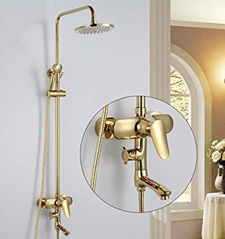 GL&G Alle Bronze Badezimmer Luxus Regen Mixer Dusche Combo Set Wand montiert Regendusche Kopf System, Retro Gold Dusche Wasserhahn