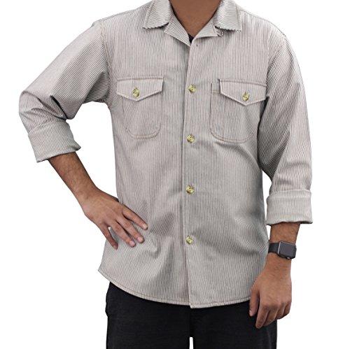 ASD Living Vintage Railroad Stripe Long Sleeve Server Shirt, Small -
