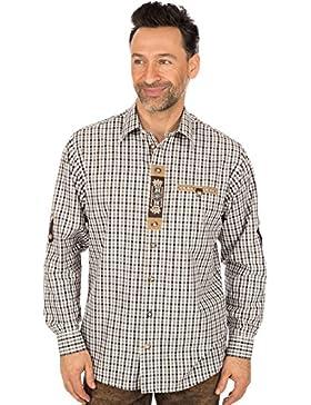 orbis Textil Trachtenhemd Krempelarm Braun Schwarz