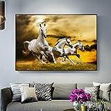 Wieoc Running Horses Under The Sunset Wandkunst Leinwand Gemälde Moderne Tiere Pop Art Leinwand Für Wohnzimmer Decor 60X80 cm