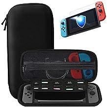 Nintendo Switch trasporta la custodia + Protezione vetrata in vetro temperato premio, SHareconn Portatile Custodia protettiva per custodia da viaggio con coperture rigide con 10 giochi per Nintendo Switch Consolle & Accessori (Nero)