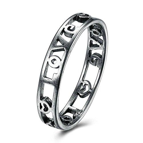 Adisaer Ring Damen Edelstahl Titan Ring Schwarz Titanring Edelstahl Damen Ring Schwarz Hohl Kreis Mit Herz Größe 60 (19.1) Jahr Süß Ring Für Mädchen