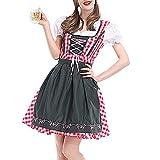 Styledresser A Buon Mercato Abito Donna Eleganti da Cerimonia,Donna Autunno,2Pc Donne Bendare Piaid Bavarese Oktoberfest Costumi Barista Dirndl Vestito