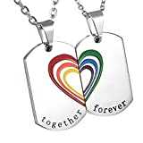 COPPIA IN ACCIAIO INOX DA DONNA UOMO cupimatch arcobaleno collana, Puzzle cuore Dog Tag pendente Gay Lgbt Gay & Lesbian Pride catena, argento