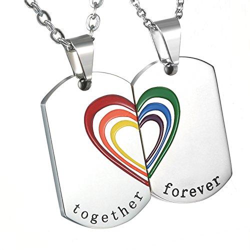 Cupimatch Herren Damen Paar Edelstahl Regenbogen Halskette, Puzzle Herz Dog Tag Anhänger Homosexuell LGBT Gay & Lesbian Pride Kette, Silber