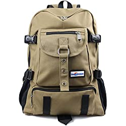 Aeoss Fashion arcuate shouider strap zipper solid casual bag male backpack school bag canvas bag designer backpacks for men (BROWN)