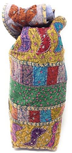 Indische Umhängetasche Stoffbeutel Schultertasche Beuteltasche Freizeittasche mit Reißverschluss AG-21 (Orange) Multi