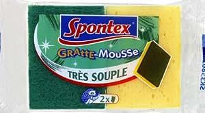 Spontex - Récurage éponge grattante - Gratte-Mousse x 2 - Lot de 3
