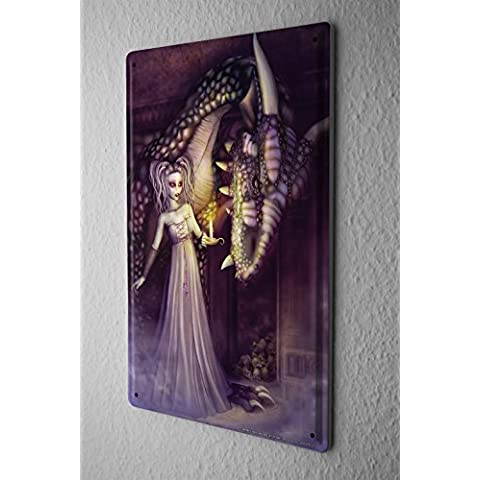 Cartello Targa In Metallo Fantasy Donna drago cranio gotica Decorative Piastra Insegna Metallica 20X30 cm