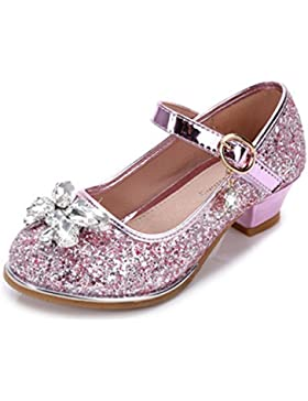 YOGLY Zapatos para Niñas Princesa Zapatos Tacones Altos Baile Zapatos de Diamantes de Imitación de Niña