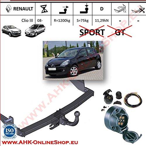 ATTELAGE avec faisceau 7 broches   Renault Clio III de 2005- Hayon / crochet «col de cygne» démontable avec outils