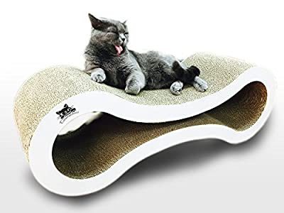 Catscratcherz cat scratcher | large 82cm lounger bed and activity toy | Better than a scratching post, tree or tower | Helps cut pet damage to furniture & sofas