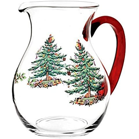 Spode Christmas Tree Glass Pitcher with Red Handle, Multicolor by Spode