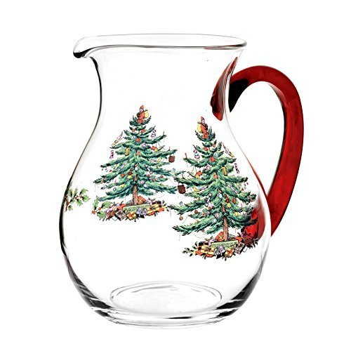 Spode Christmas Tree Glass Pitcher with Red Handle, Multicolor by Spode Spode Christmas Tree Glass