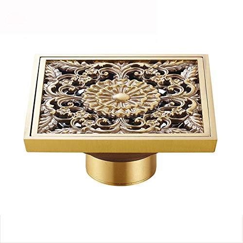 Draine le drain de plancher de salle de bains, drains de plancher sculptés de style Art en laiton antique Art Euro, crépine de drain de plancher carrée,C