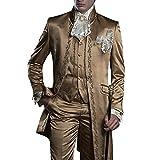 GEORGE BRIDE Herren Anzug 3-Teilig Anzug Sakko,Weste,Anzug Hose,007 (M (Siehe Größentabelle), Braun+Goldene Stickerei)