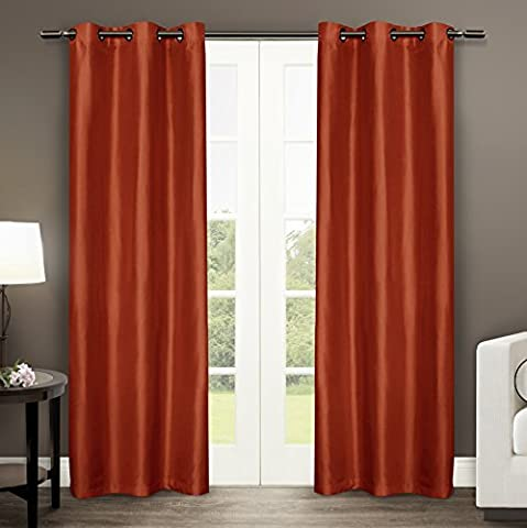 Exclusive Home Dupioni Faux Silk Grommet Top Window Curtain Panels 40 X 84, Mecca Orange, Sold As Set of 2 / Pair by Exclusive Home Curtains
