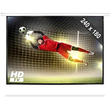 FrontStage Beamerleinwand Motorleinwand Heimkino (240 x 180 cm, für HD-Heimkino-Projektoren, Format 4:3, Gainfaktor 1,0, Wandmontage) weiß