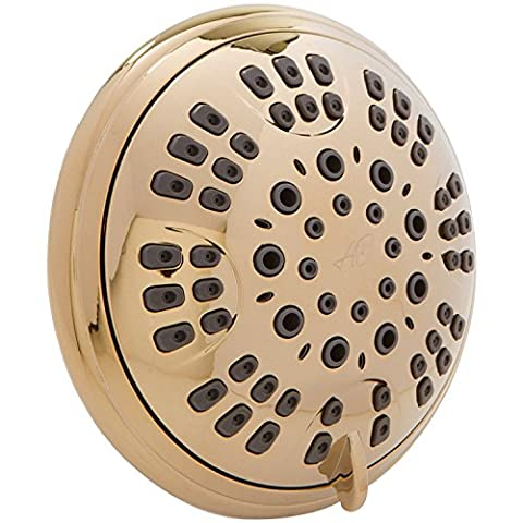 Aqua Elegante 6 Function Luxury Shower Head - Best High Pressure, Wall Mount, Adjustable Showerhead - Polished