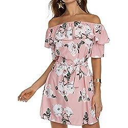 YOINS Femme Robe D'ete Sexy Mini Robe Epaules Nus Robe Courte Imprime Florale Dress Robe De Printemps Manches Longues, Rose-imprime, L (EU 44)