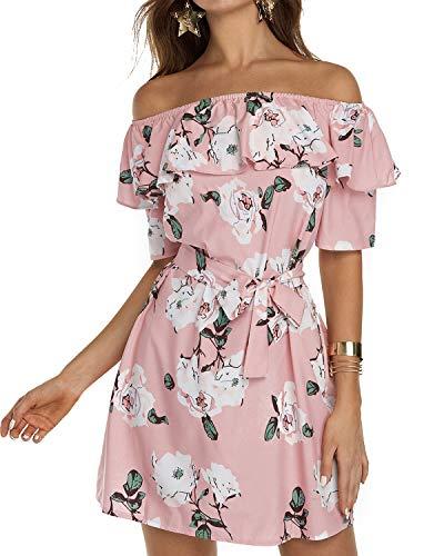 YOINS Femme Robe D'ete Sexy Mini Robe Epaules Nus Robe Courte Imprime Florale Dress Robe De Printemps Manches Longues, Rose-imprime, M (EU 40-42)