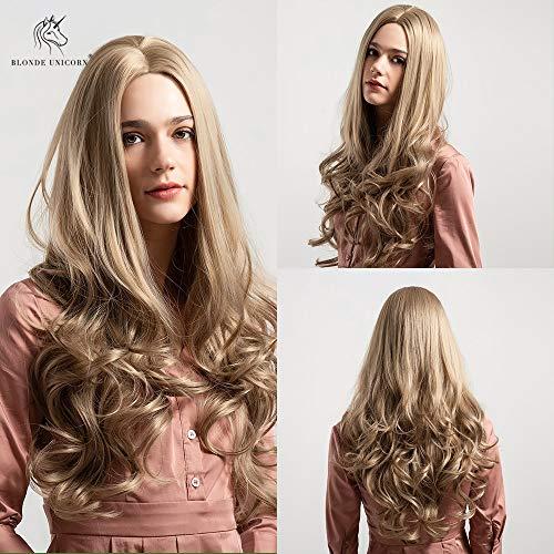 CXQBlonde Unicornio peluca sintética 26 pulgadas de largo cabello ondulado color marrón claro peluca...