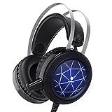 Gaming Headset PS4 Wired Stereo Gamer Kopfhörer mit Mikrofon Bass LED-Licht Lautstärkeregler für PC Laptop Tablet Mobile-7.1 Surround Sound