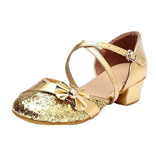 Chaussures Danse Fille/ Femme à Talon Haut 3.5CM Brillant Avec Nœud Papillon Paillettes