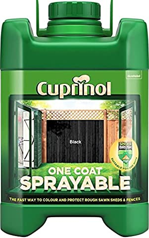 New 2016 Cuprinol One Coat Sprayable Fence Treatment BLACK for colour and Weather Protection 5L includes PSP tin opener