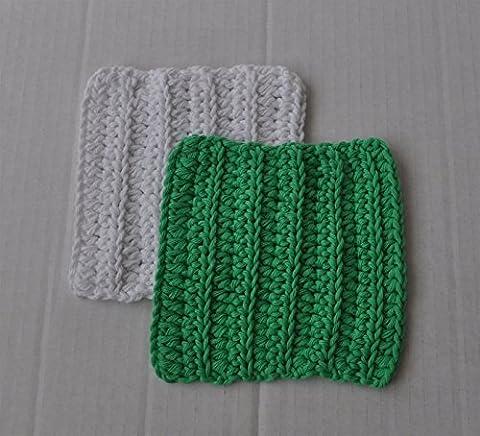 Set of 2 Cotton Washcloths Facecloths Scrubbies Eco-friendly Crocheted Cloths
